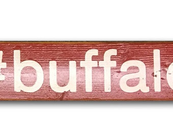 Rustic # Buffalo wooden sign