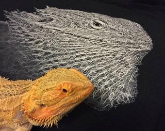 Bearded Dragon Head Men's Tshirt - Black