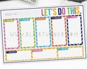 Weekly Calendar Pad (Desktop): Bold Chevron