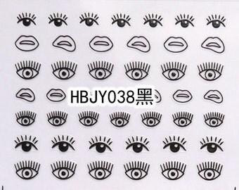 HBJY038 Black Eye Nail Art Sticker Nail Art Sticker Sheet DIY Nail Art
