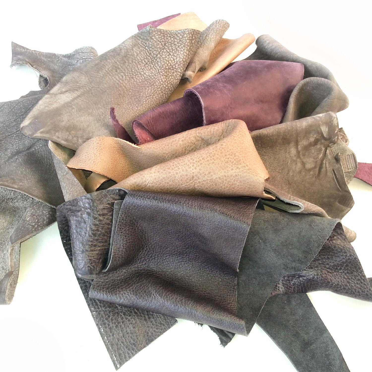 Scrap leather pieces mixed colours leather craft supply for Leather sheets for crafting