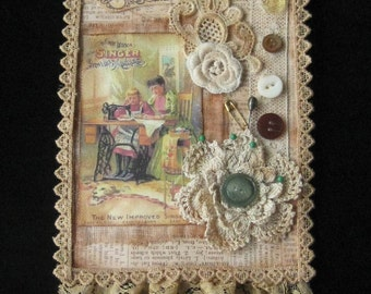 One of a Kind Mixed Media Collage - Wall Hanging - Singer Sewing Theme