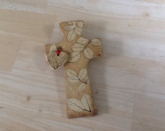 Pottery Cross and Heart Wall Hanging/Ornament- Mountain Mud Company