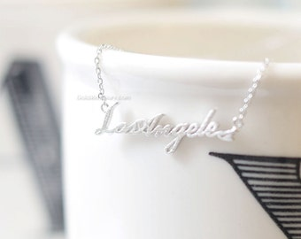 Silver Los Angeles Necklace , Silver LA necklace, Los Angeles bar necklace