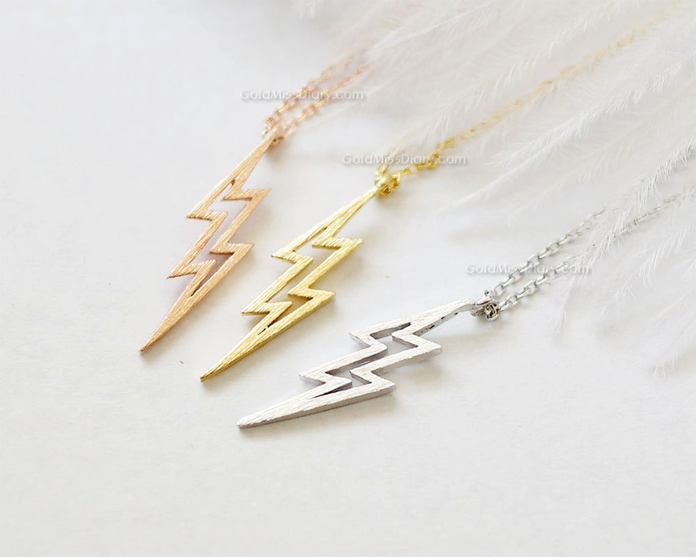 lightning bolt necklace thunder bolt necklace lightning