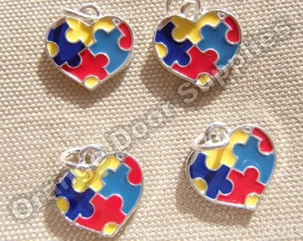 Autism Awareness Charms Heartshaped 16mmx16mm- 25 Pcs (ASD 101)