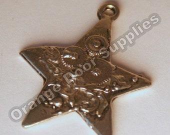Pewter Steampunk Star Pendant 25x25mm- 4 Pcs