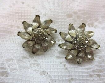 Dazzling Vintage Real Look Rhinestone Floral Earrings Signed PELL