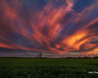 Sunset Photography, Oklahoma Sunset, Sunset Art, Sunset Decor, Sunset Print, Sky Sunset, Oklahoma Sky, Sunset Wall Art, Sunset Picture
