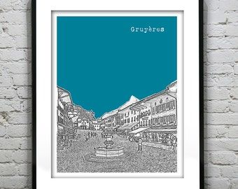 Gruyeres Switzerland Skyline Poster Art Print Version 1
