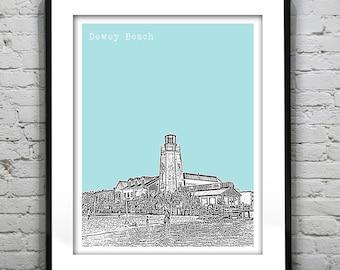 1 Day Only Sale 10% Off - Dewey Beach Delaware Poster Art Print Skyline DE