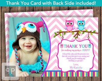 Owl Photo Birthday Thank You Card, Printable Owl Birthday Thank You Card, Printable Owl Thank You Card, Girl Printable Owl Thank You Card