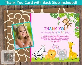 Jungle Photo Thank You Card, Printable Jungle Animals Photo Thank You Card, Jungle Theme Thank You Card, Printable Jungle Thank You Card