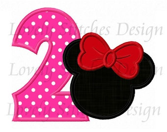 Minnie Mouse Number 2 Applique Machine Embroidery Design NO:1314