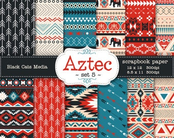 Aztec tribal ethnic digital Printable Papers 12 x 12 in AND 8.5x11 in  - red and blue - invitations, scrapbooking, instant download