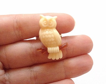 Owl on branch ring, upcycled, repurposed ring,