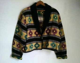 Yellow, Black and Pink Woven Jacket with Southwest Design - XL