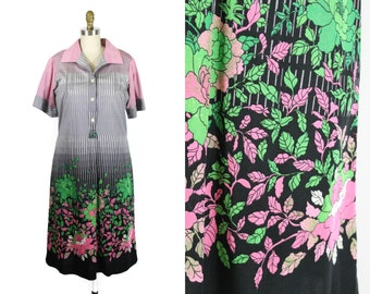1970s Black and Pink Floral Dress / 70s A-Line Shirtdress with Flowers
