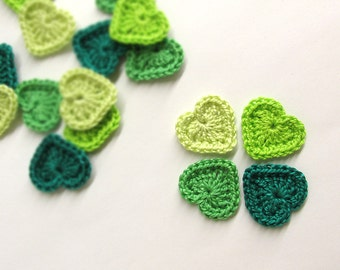 Crocheted hearts 0.8 inches green tiny appliques, set of 16