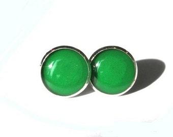 EMERALD GREEN STUDS - Green earrings - Green ear Studs - green post earrings - Green Jewelry - dark green studs - Emerald green jewelry
