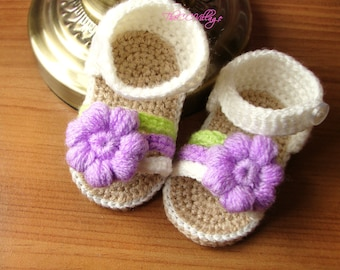 Cream crochet baby sandals, handmade crocheted girl shoes with lilac flower