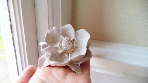 Flower ring dish, Magnolia, 3d flower sculpture, wedding ring dish, bridal party gifts