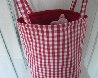 Toy/laundry storage bag in Laura Ashley red gingham with plain red cotton lining