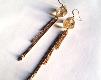 Big Spender- Faceted Golden Quartz Chain Tassel Earrings