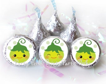 Baby Sweet Pea Pod Baby Shower Decorations Party Favors Green Candy Stickers fits Hersheys Kisses