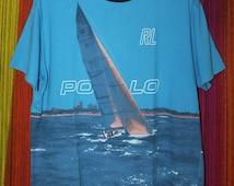 Vintage Polo Sport Ralph Lauren Sailing T-Shirt Yacht Sportsman P Wing Stadium