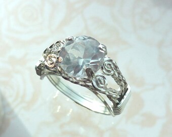 White Sapphire Ring Wire Wrapped Jewelry Handmade in SIlver FREE SHIPPING