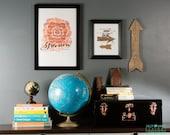 Wall art, Quote art, Typography, Floral art, Wall decor Hand Made Blossom Letterpress Art Print JJD_LP_BLSMP