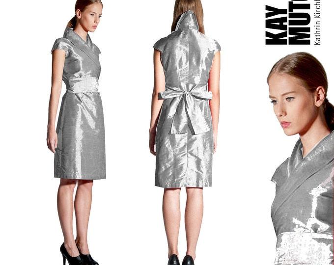 silk wrap dress in kimono style In SILVER dupioni wildsilk wedding dress bridal gown