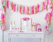 Tissue Paper Tassels, Tassel Garland, Custom Banner Garland Choose your colors Birthday Photo Backdrop, Bridal Shower Decor, We Love to Part
