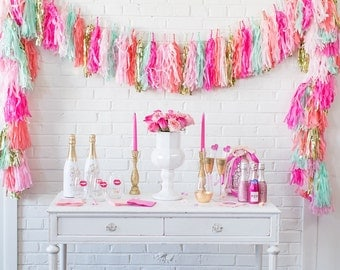 Pink, mint, hot pink, coral,gold Tissue Paper Tassels, Tassel Garland, Custom Banner Garland Choose your colors Birthday Photo Backdrop, Bri