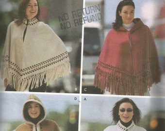 Ladies SIMPLICITY CAPES and PONCHOS pattern sizes S M L instructions in French and English ..can be made with synthetic suede, fleece