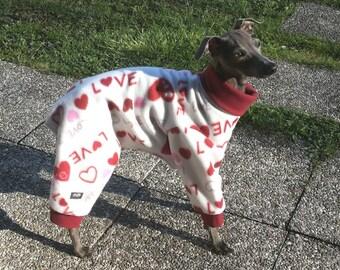 Italian Greyhound Fleece Pajamas/ Valentines dog pajamas