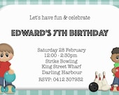 Customised Birthday Invite - Bowling Party (2 designs) - Digital