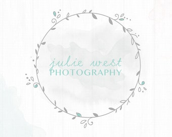 Premade Photography Watercolor Feminine Wreath Watermark + Logo - L028