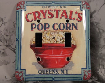Metal Popcorn Light Switch Cover - Double Switch Plate - Double Toggle - Crystal's New York Popcorn