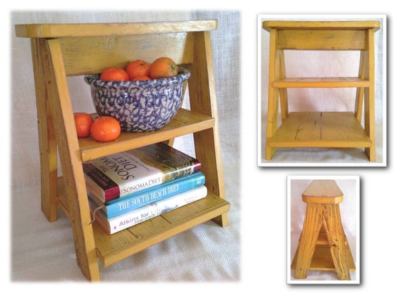 Reclaimed barn wood kitchen island counter ladder pie plate - Reclaimed wood ladder shelf ...