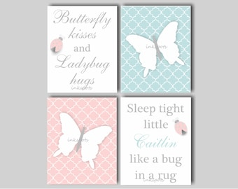 Butterfly Nursery Art Baby Girl Nursery Art Butterfly Art Butterfly Kisses Print Butterfly Bedding Decor Choose Colors BF2630