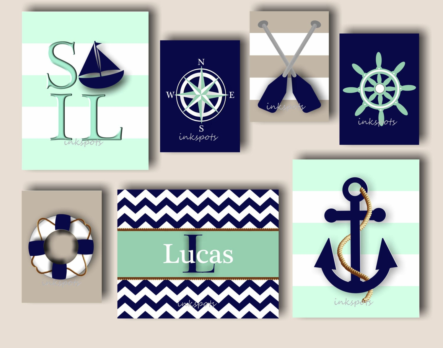 Baby Boy Nursery Art Nautical Nursery Bedding by inkspotsgallery
