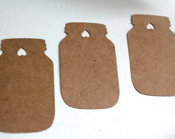 50pcs Mason jar tags, Kraft paper tags, Kraft tags, Mason jar favors, Wedding favors, Rustic wedding tags, Country wedding tags, Jar cutouts