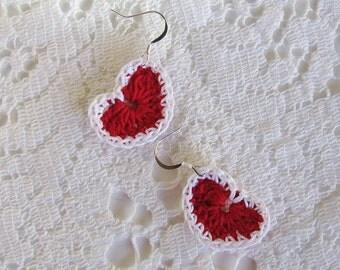 Red Crochet Heart Earrings Valentine Earrings Fiber Heart Earrings Heart Jewelry Boho Earrings
