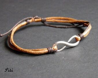 Silver bracelet brown cotton cord infinite