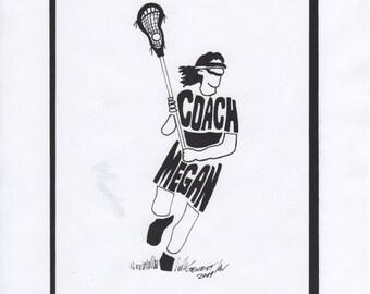 Personalized Sport Figure -  Girls Lacrosse COACH
