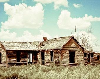 Fine Art Photography, rural decay, wood homestead, prairie home, puffy clouds, primitive, aqua, blue, Rustic Home Decor, Fine Art Print