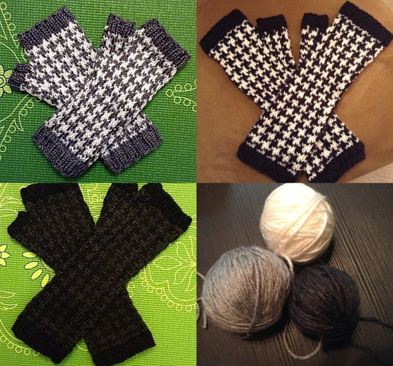 Knit Fingerless Gloves in Houndstooth Pattern