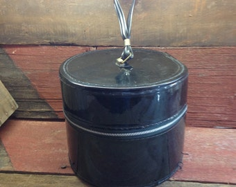 Vintage Round Patent Leather Black Train Case Wig Case Hat Box